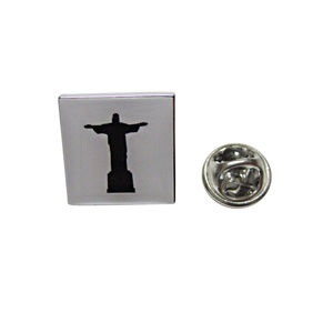 Square Christ The Redeemer Rio Statue Lapel Pin